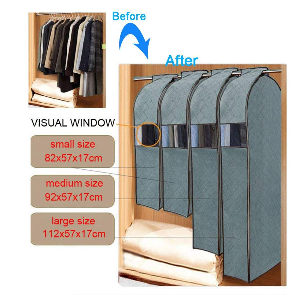 Alotm Garment Bags for Storage, 3 Size Garment Protector Cover, Breathable Bamboo Charcoal Dustproof Clothes Cover Bag, Cloth Care Hanging Bag with Clear Window (Large Size)