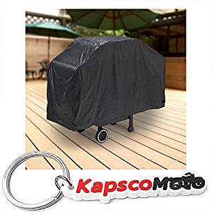 "North East Harbor Deluxe Waterproof Barbeque BBQ Grill Cover Large 64"" Length Black - 100% Waterproof Barbecue Propane Gas Grill Winter Storage Cover + KapscoMoto Keychain"