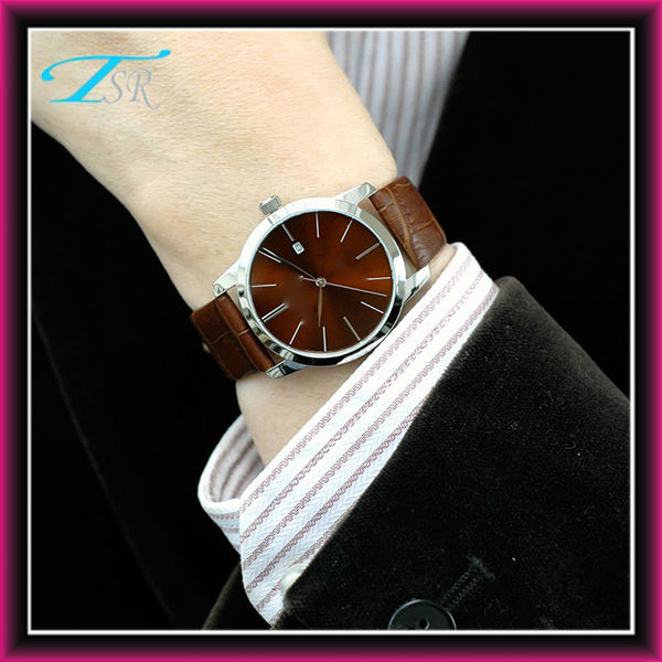 2014 fashion pu leather watches with 316 stainless steel case 5ATM waterproof