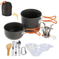 Picnic Hiking Utensils Camping Cooking Set Cookware Portable Camp Tool Folding Dinnerware Set