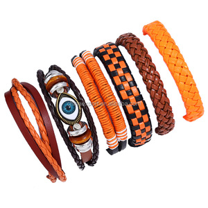 Cheap promotional jewelry evil eye leather string bracelet sets