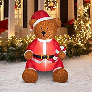 christmas airblown inflatable teddy bear with fuzzy plush material that simulates hair outdoor holiday yard decoration