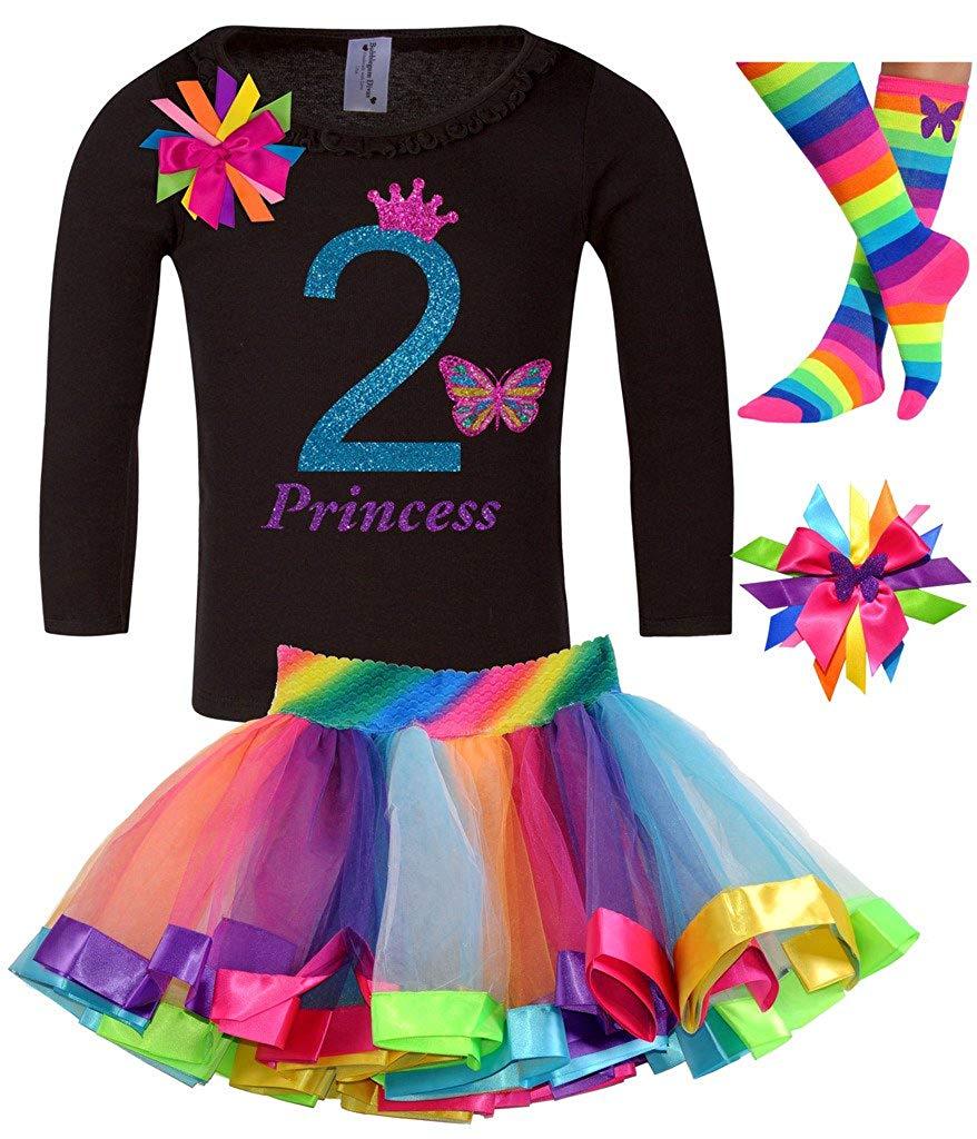 Bubblegum Divas Little Girls 2nd Birthday Shirt Rainbow Tutu Socks Hair Bow 4pcs Outfit