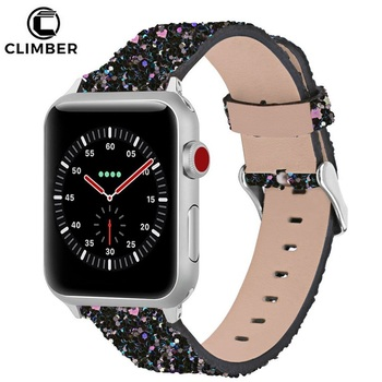 1bc575818 Amazon Best Seller 42mm 38mm Glitter Bling Watch Strap Leather Bracelet  Watchband For Apple Watch Bands