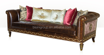 Exquiste Royal Victorian Three Seat Leather Sofa, Luxury English Style  Living Room Furniture BF11