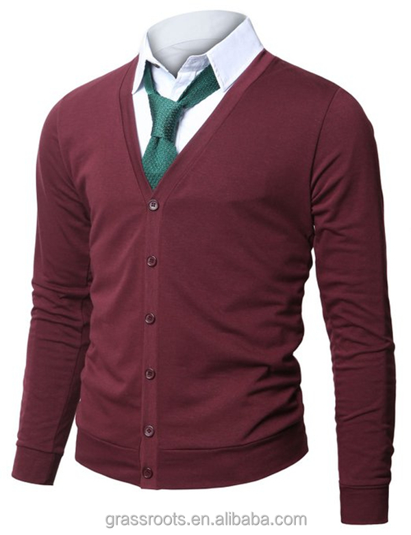 Mens V-neck Cardigan With Button Up Mens Plain Cardigan Sweater ...