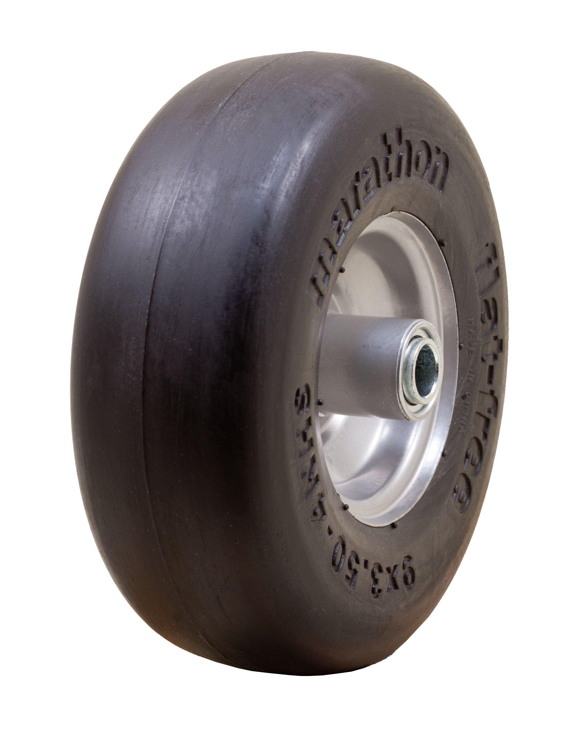 "Marathon 9x3.50-4"" Flat Free Tire on Wheel, 4"" Centered Hub, 3/4 Bushings"