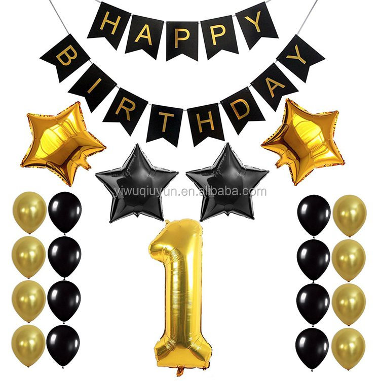 Happy Birthday Black Banner 1st Birthday Party Decoration kids Foil Balloons Baby Shower Boy Girl Party Favors Supplies