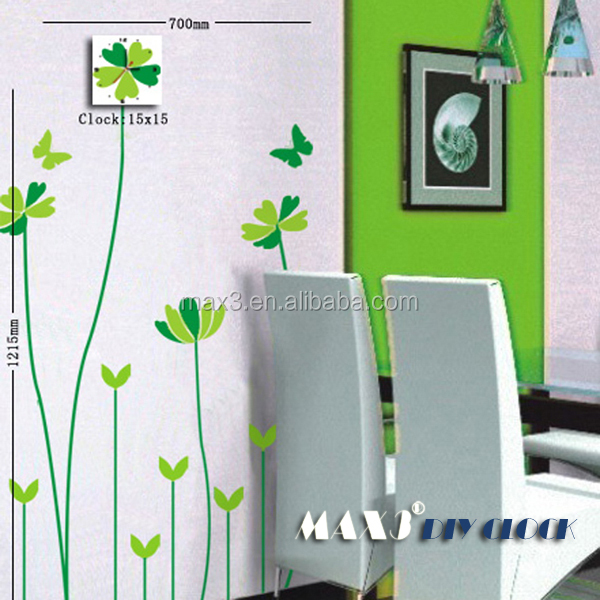 Original brand Simple wall clock with flower sticker wall clock for home decor