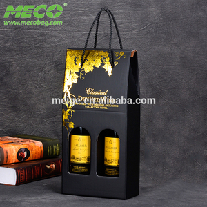 Double Corrugated Paper Loaded Red Grape Wine Handbag Gift Wine Bottle Bag