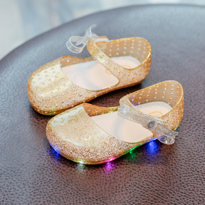 LED Girls Shoes Children Kids Silica Gel Kid Bows Sandals Led Flashing Lights Shoe