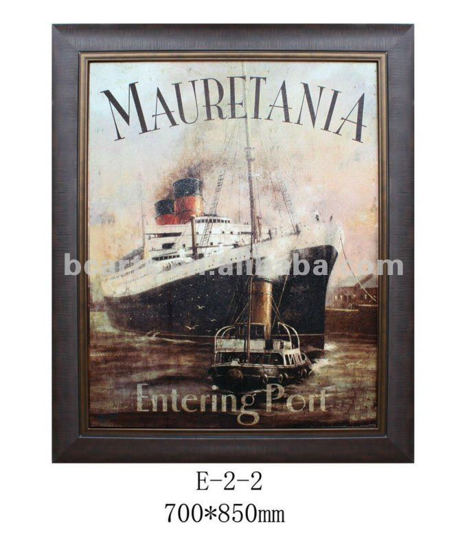 Handmade impressionist painting wall frame mural painting of sea and ship, framed canvas Art oil painting for sale