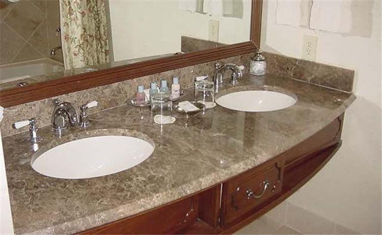 Crema di marmo top da bagno con doppio lavandino, piani bagno ...