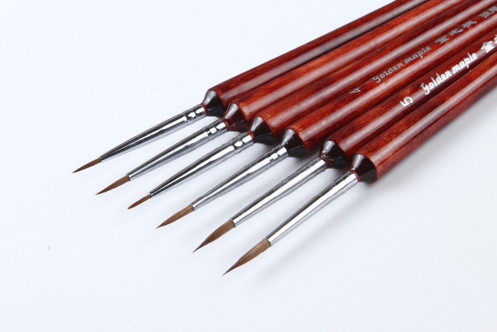 High Quality Painting Tools Professional Detail Paint Brush Set Weasel Hair Brushes Short Handle Liner