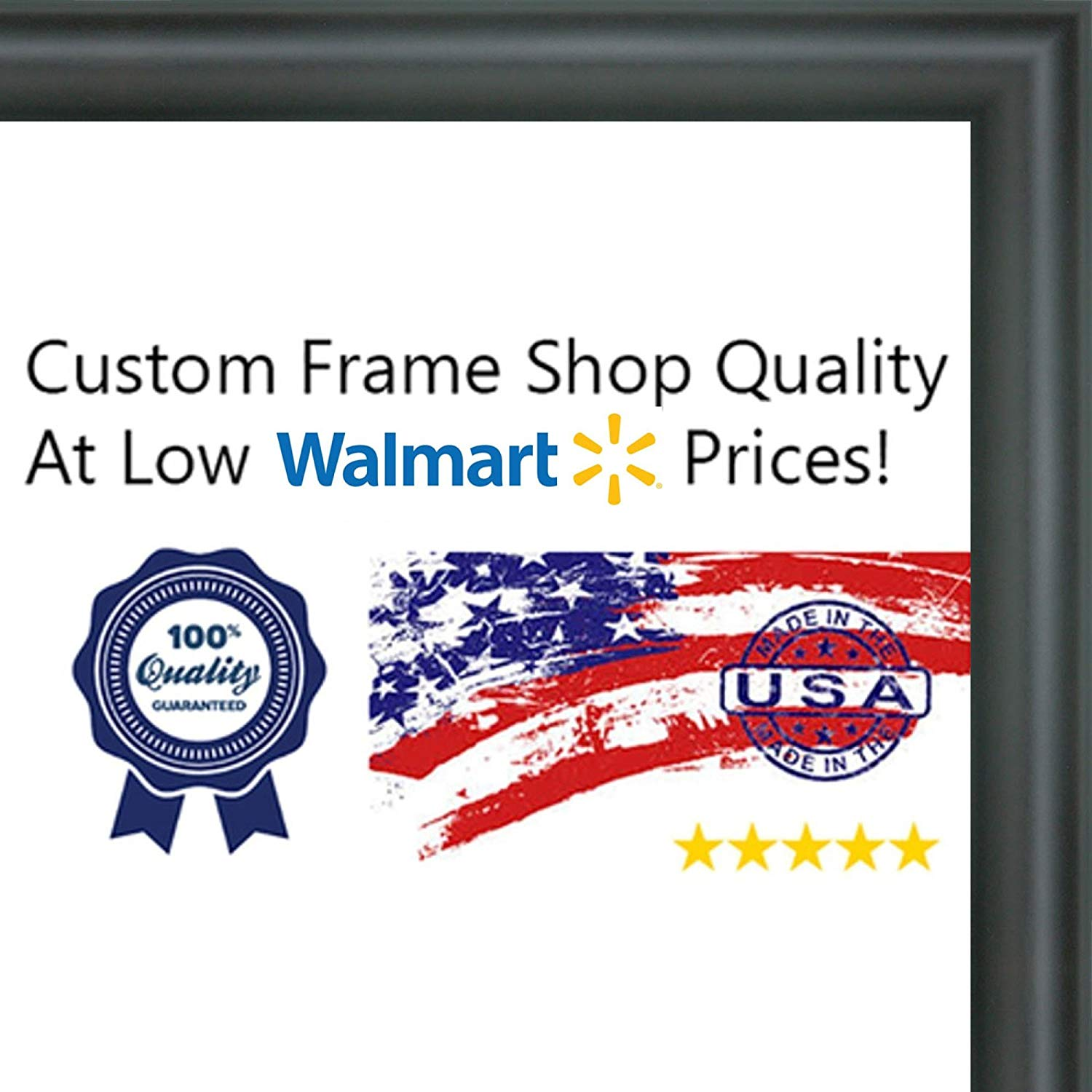 12x16-12 x 16 Rounded Black Solid Wood Frame with UV Framer's Acrylic & Foam B