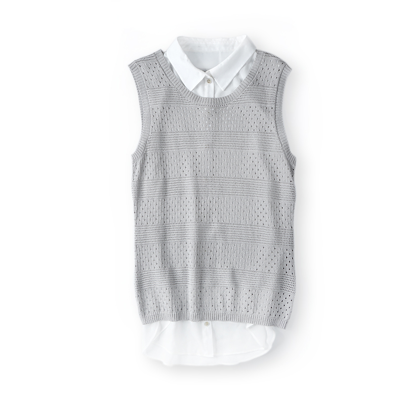 Fashion sleeveless spring women's knitted custom sweater vest with pointelle