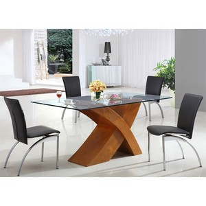 New table wooden base modern design sales clear glass dining table