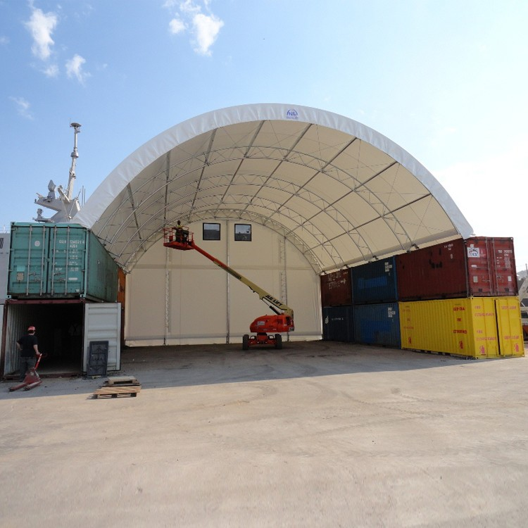 Large storage steel frame shipping container dome shelter for Tall shipping container