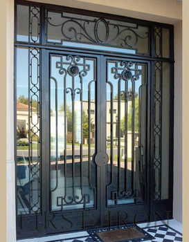 Flat Top Wrought Iron Double Entry Door With Rectangle Transom