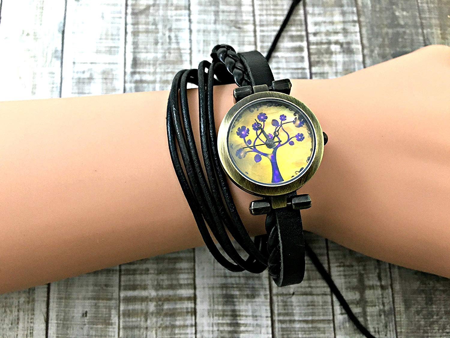 Tree Wrap Bracelet Leather Watch, Leather Wrap Bracelet Watch, Leather Wrap Art Watch, Vintage Retro Wrap Bracelet Watch, Wrap Genuine Leather Watch 013