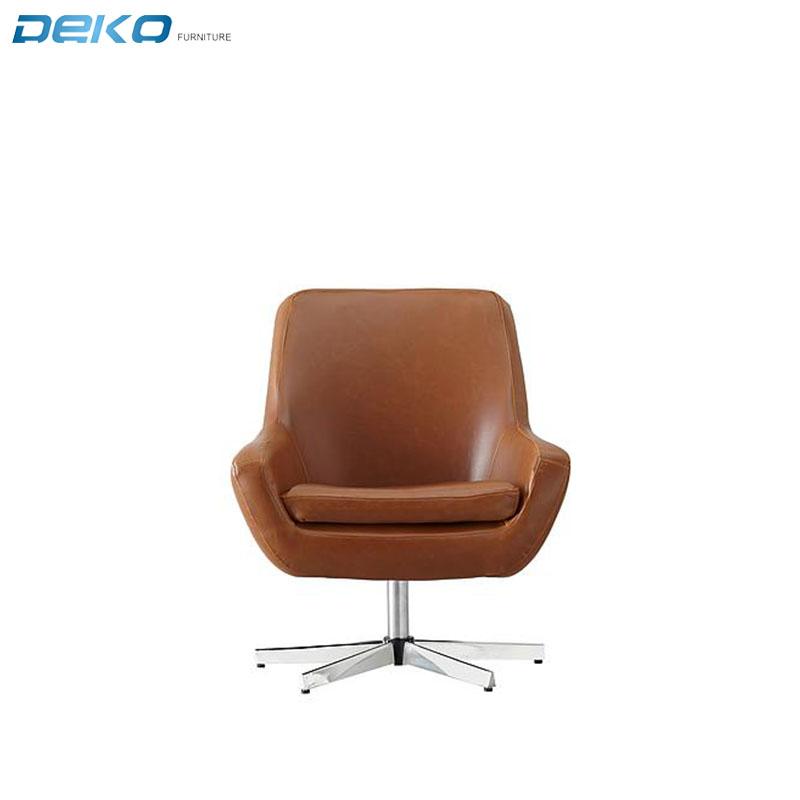 European Top selling Vintage PU swivel metal armchair, swivel club chair with plating chrome base