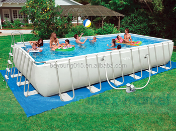 Intex 32 X 16 52 Ultra Medal Frame Rectangular Swimming Pool Set