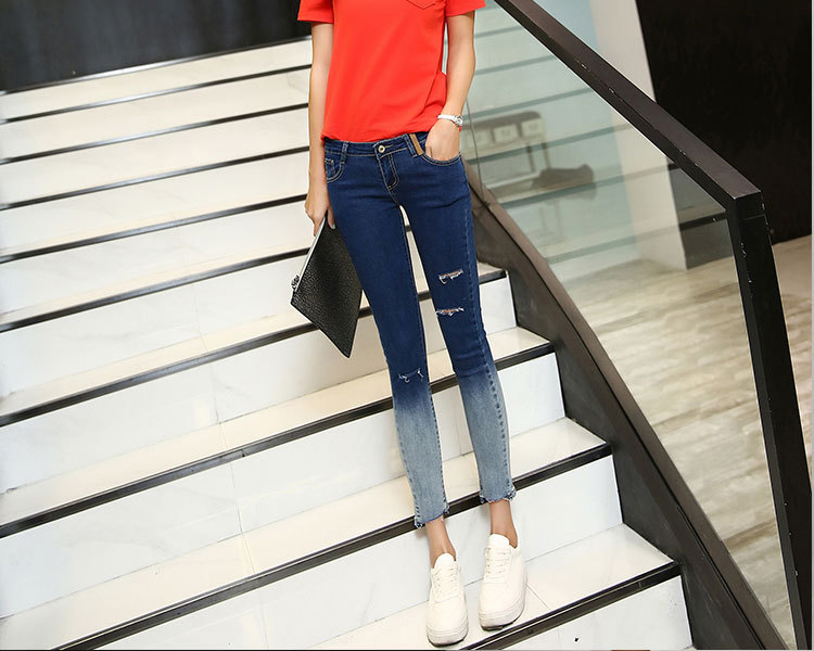 Slim Hole Jeans New Design Gradient Color Hole Feet Pencil Jeans B9634