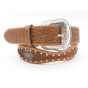 High Quality Handmade Scalloped Leather Rodeo Mens Brown Hair Tooled Concho Belt