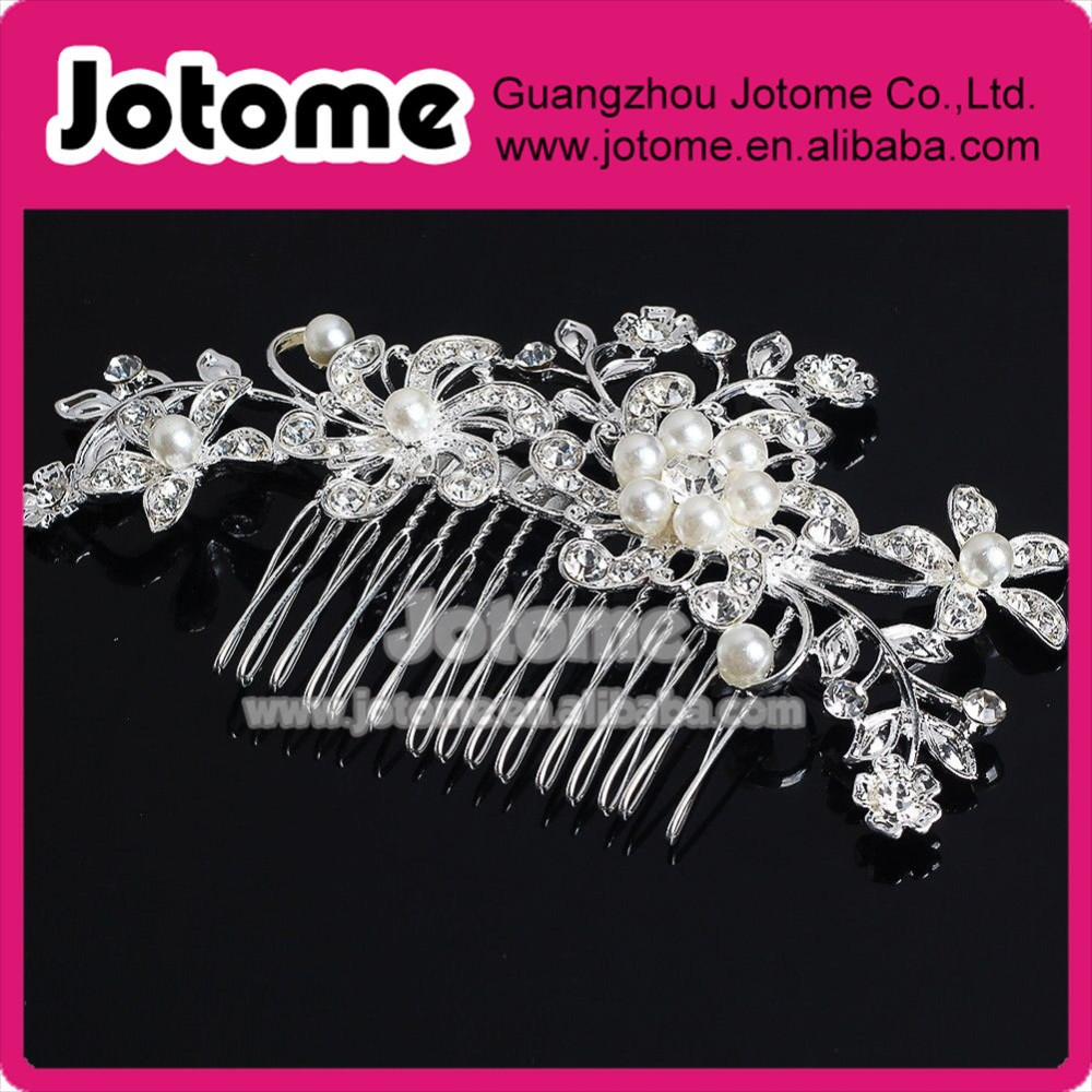 Bridal Wedding Flower Pearls Diamante Crystal Rhinestone Hair Comb