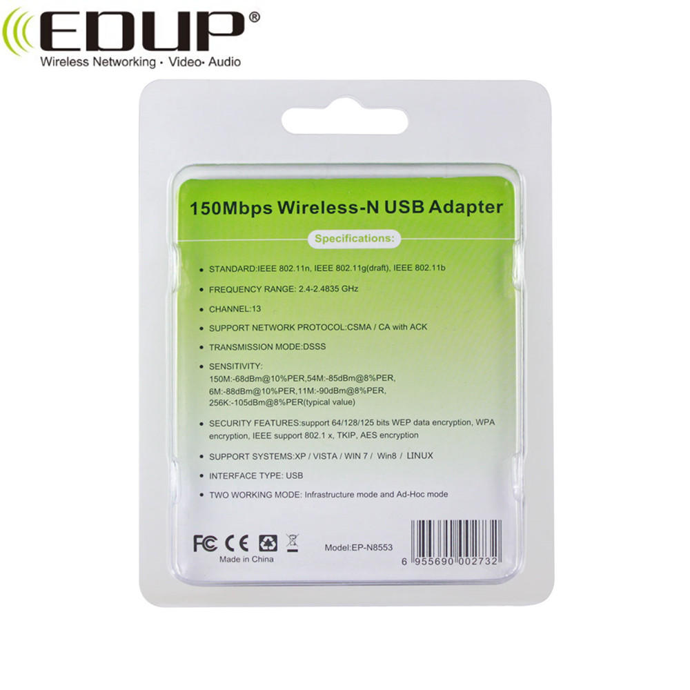 EDUP EP-N8553 150Mbps usb wifi adapter with good quality in stock