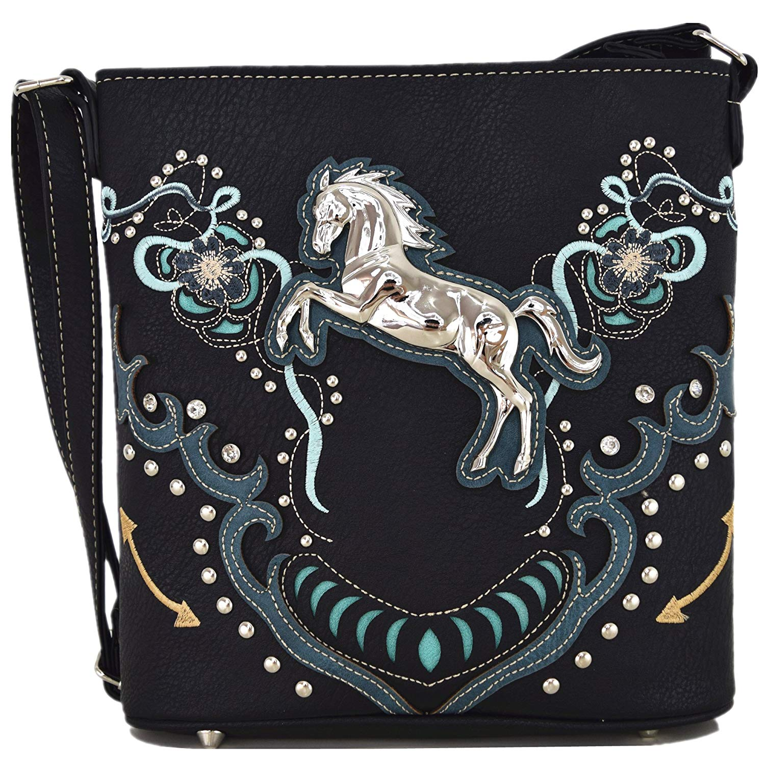 b9be4fbc1c Get Quotations · Western Cowgirl Style Horse Cross Body Handbags Concealed  Carry Purses Country Women Single Shoulder Bag