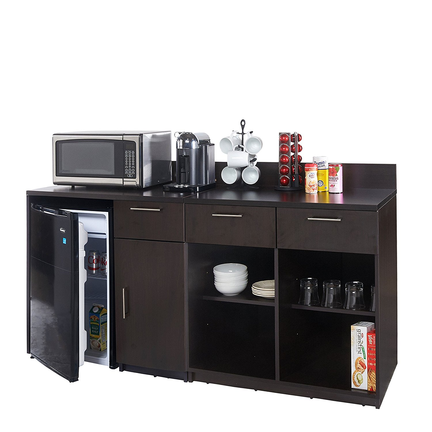 Breaktime 2 Piece 3269 Coffee Kitchen Lunch Break Room Furniture Cabinets Fully Assembled Ready to Use, Instantly Create your New Break Room, Espresso