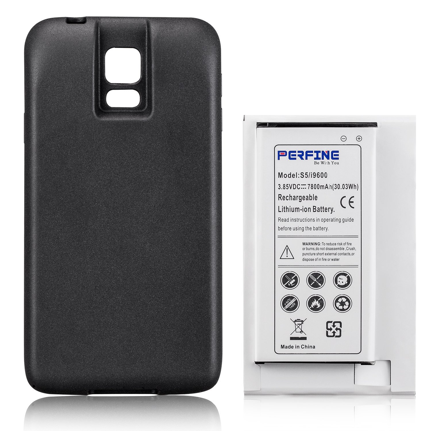 Perfine Samsung Galaxy S5 7800mAh Battery Replacement for I9600/EB-BG900BBU/SM-G900 with Full Edge Protective TPU Case[NFC/google wallet]