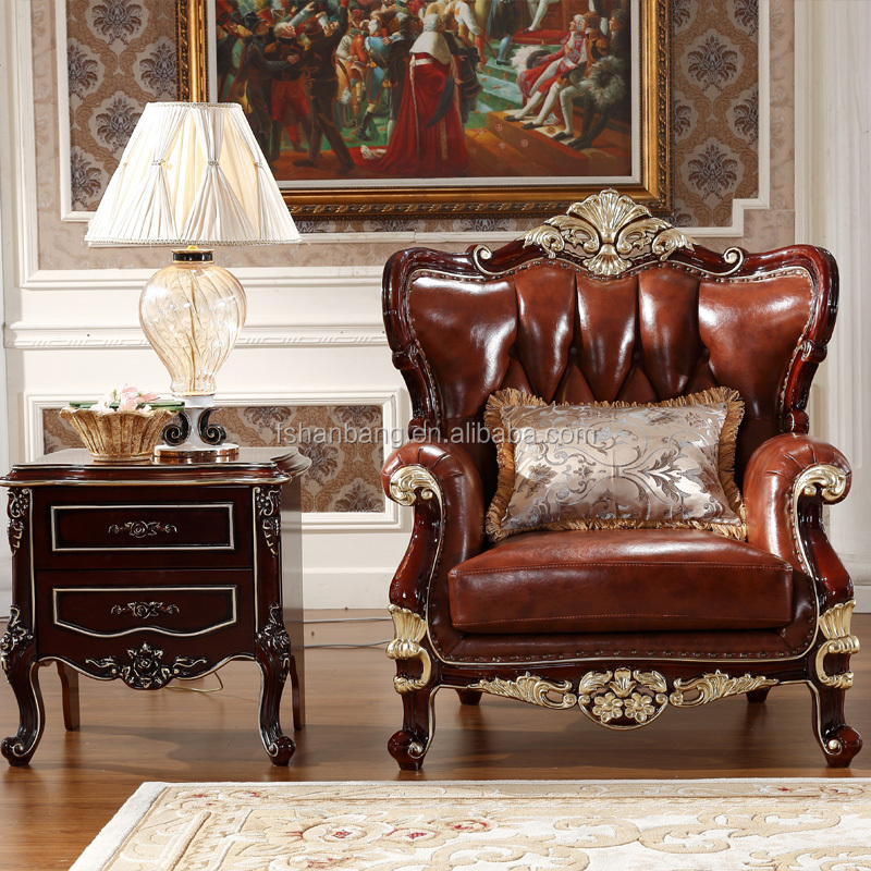 Luxury antique royal style gold carved wood leather living room furniture sofa set buy leather for Antique style living room furniture