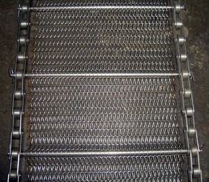 Metal Mesh Spiral Link Conveyor Belt For Roasting Food Stuff