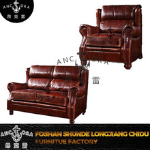 simple design used wooden leather furniture sofa set A118 1S