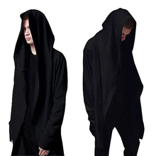 2016High Quality Casual Men's Hooded With Black Gown Sudaderas Hombre Hip Hop Hoodies and Sweatshirts long Sleeves Jackets Coats