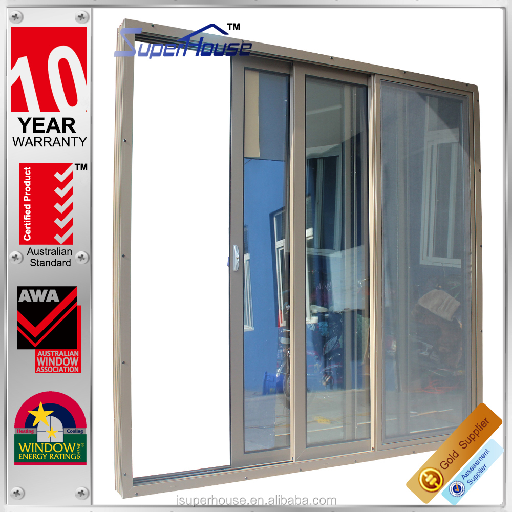 Sound proof and weather proof insect screen aluminum multi for Multi track sliding glass doors