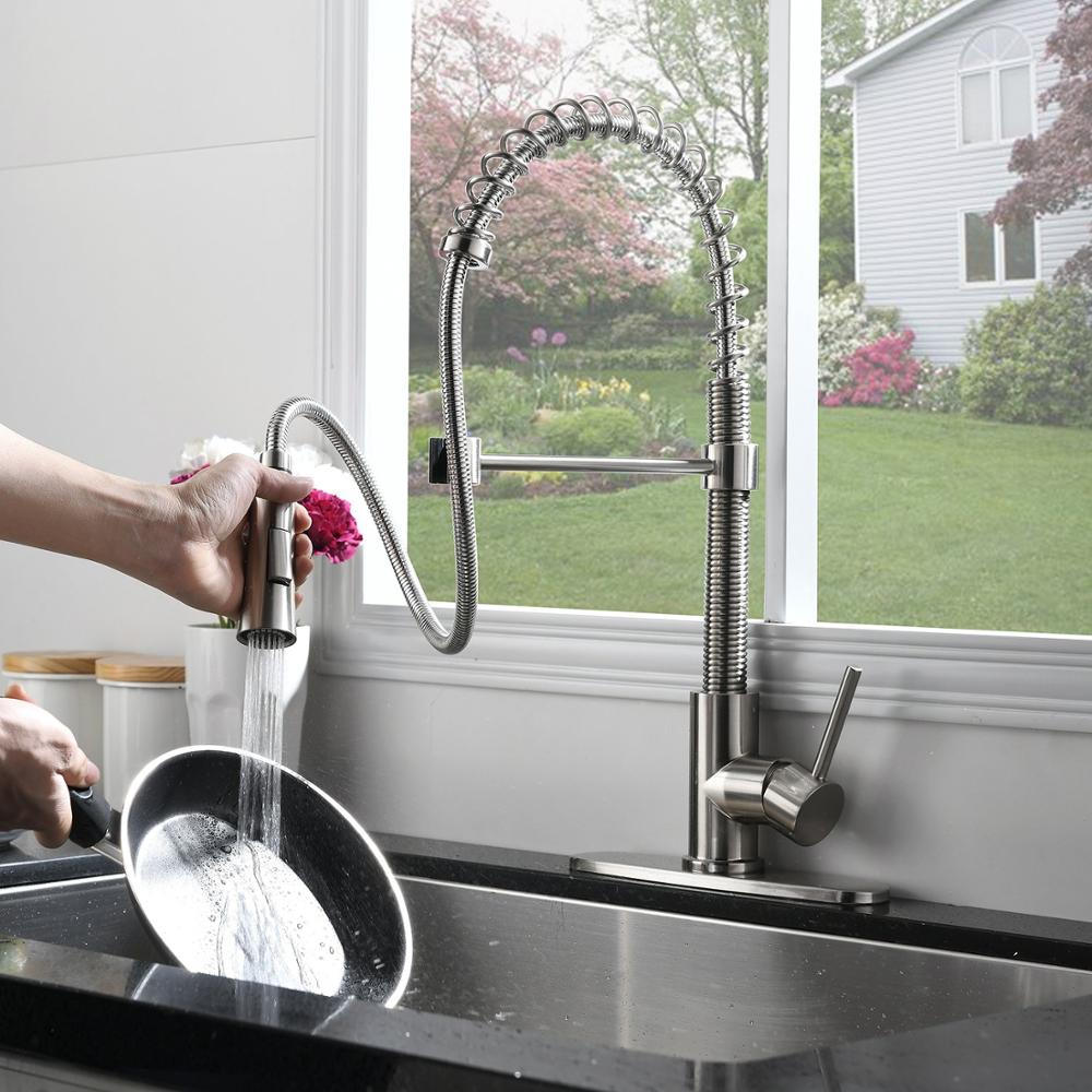 Lead Free Stainless Steel Single Lever Handle Pull Down Sprayer Brushed Nickel Kitchen sink Faucet With Deck Plate