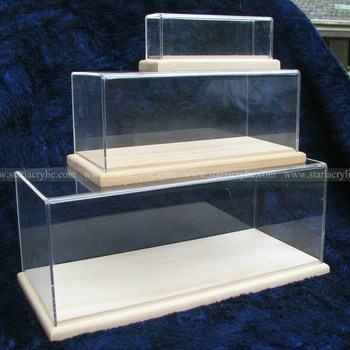 acrylic rugby display case with wooden base plexiglass american football display case doll clear