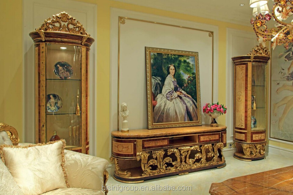 Bisini Arabic Style Antique Gold Living Room Furniture Luxury TV Stand  Design