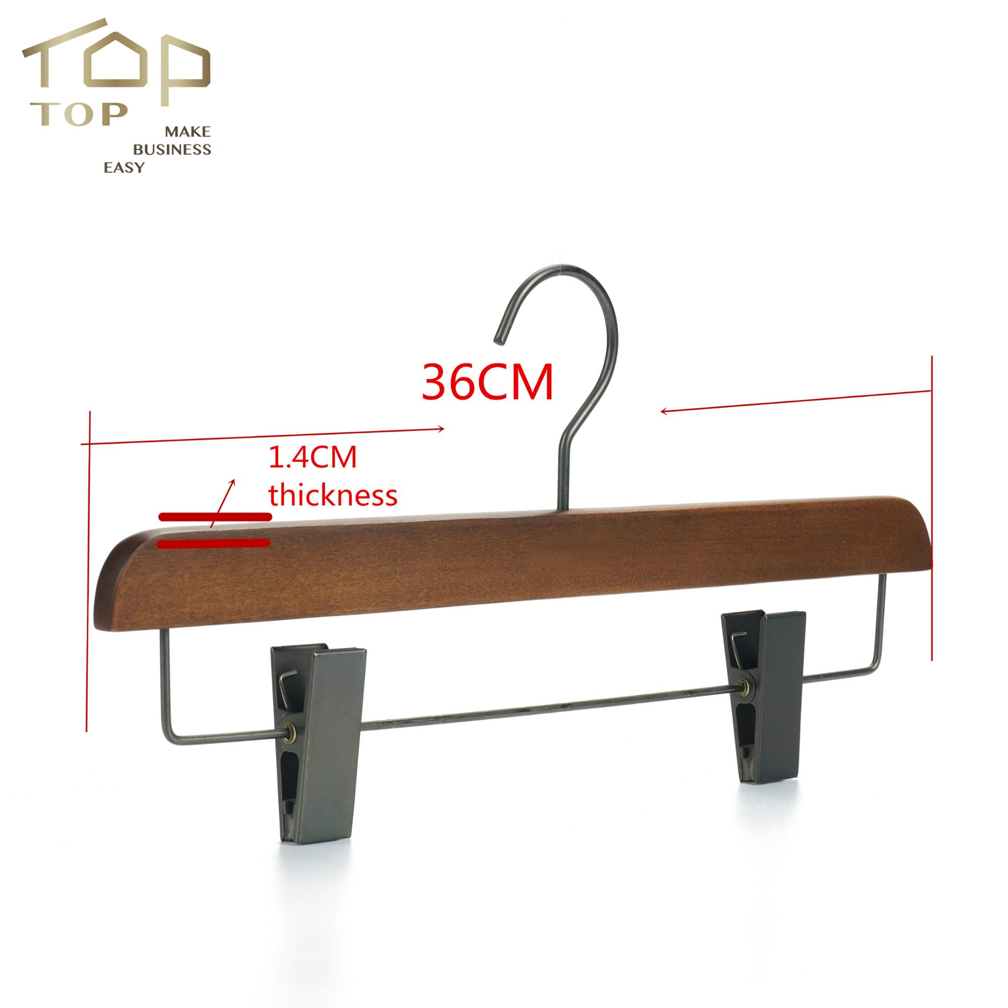 High quality Logo plate Wooden Trouser Pants Hangers Clamp