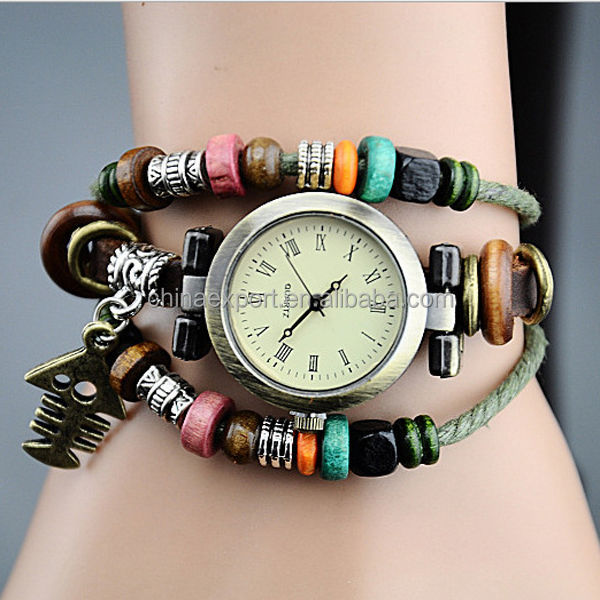 Alibaba Wholesale Fashion Ladies Braided Pu Leather Watch Bracelet