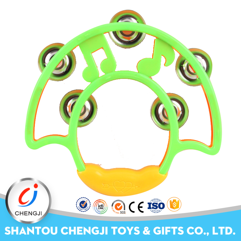 Hot popular plastic rattle toy musical tambourine jingles for kids