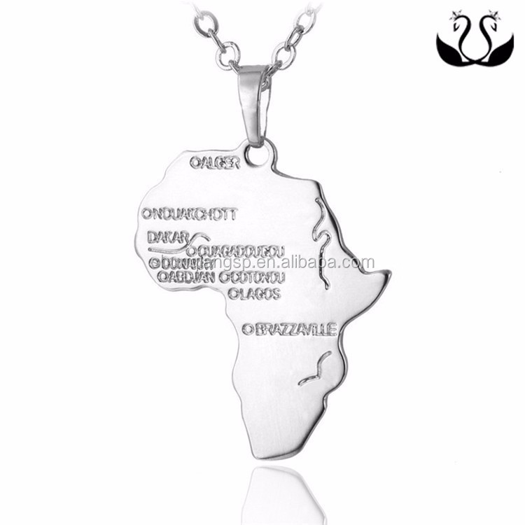 2017 Top Selling Fashion 18 K Vergulde Afrika Kaart Hanger Sieraden