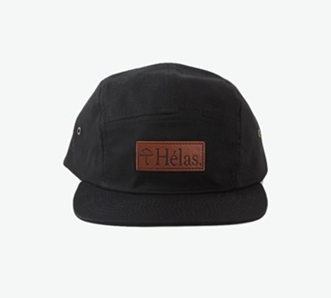 purchasing simple HELAS brand 5 panel flat brim leather strap back hats caps
