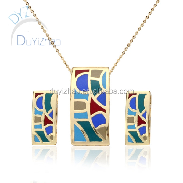 square shape enamel jewelry set/fashion earring and necklace pendent jewelry