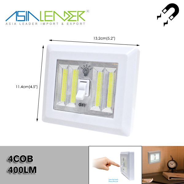 F' For Baby Nursery, Hallways, Bedrooms 4*AAA Battery Powered Dual 400LM COB LED Wireless Night Light With Switch