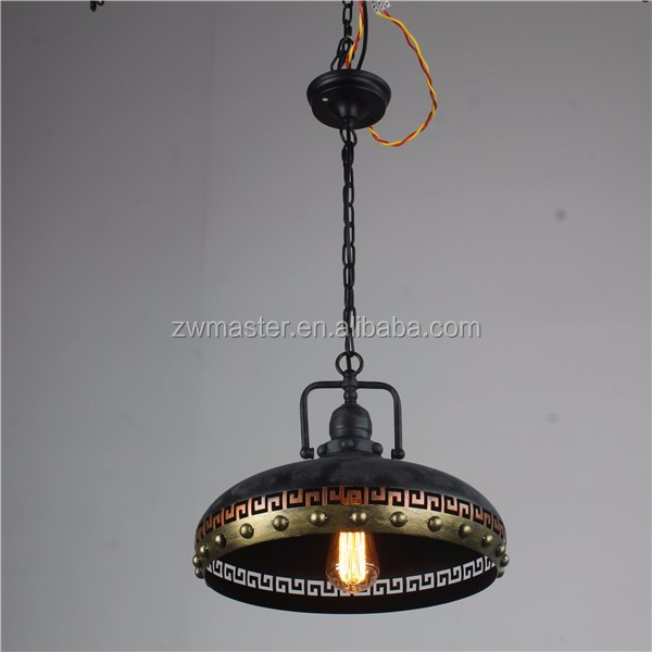 2017 hot sale Retro style iron material hat hanging indoor industrial pendant light