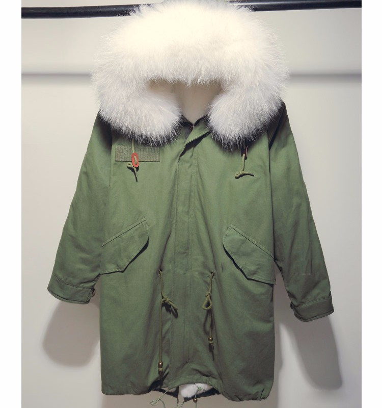 e5c1e1f80de84 White Raccoon Fur Hood Fox Fur Lined Winter Jacket Coat Parka - Buy ...